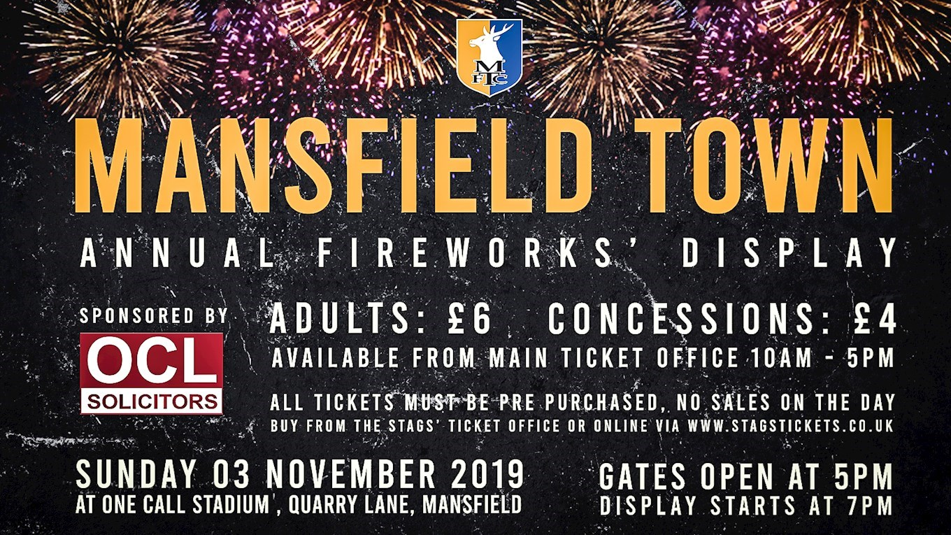 Premier fireworks event on Sunday - News - Mansfield Town