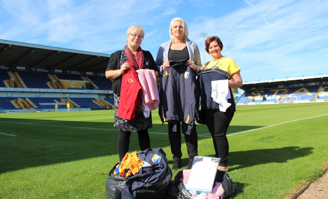 L-R: Sonia Ward (Schools Out For Summer), Danielle Hett (Stags' Supporters' Liaison Officer) and Jan Spencer (Schools Out for Summer)
